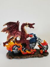 Statue Wizards And Dragons Collectibles Fantasy Red Dragon Biker On Fire Gift