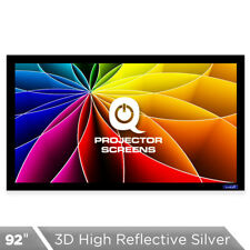 QualGear 92 Inch Fixed Frame Projector Screen, High Reflective Silver , 2.5 Gain
