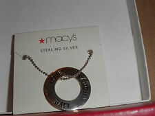 Strling Silver Love Laugh Live Pendant  Brand New from Macy's with thin chain