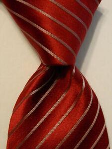 DONALD TRUMP President Signature Collection Silk Necktie STRIPED Red/Gray EUC