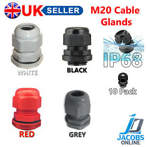 10 X 20MM M20 CABLE GLAND IP68 COMPRESSION STUFFING GLAND - BLACK WHITE GREY RED