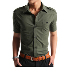 Fashion Mens Army Style Short Sleeve Shirt Breathable Button Down Casual Shirts