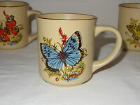Vintage Set Lot 4 Viking Handcrafted Korea Coffee Mugs Butterfly Nature Flower
