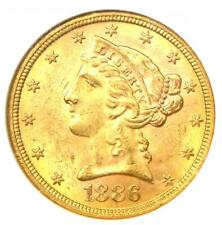 1886-S Liberty Gold Half Eagle $5 Coin - Certified NGC MS62 (BU UNC) - Rare!
