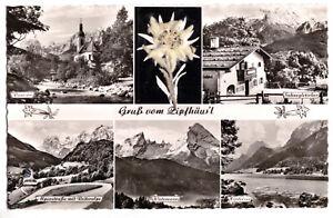 AK, Ramsau b. Berchtesgaden, Gruß vom Zipfhäusl, fünf Abb. + Edelweiß, um 1960