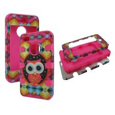 For Apple Iphone 4 4S Hybrid Pink Design Owl Hard Soft Cover Case