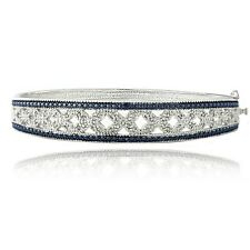 0.50ct TDW Blue & White Diamond Bangle Bracelet