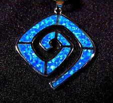 Sterling 925 Silver SF Pendant & Necklace Blue Lab Fire Opal ABSTRACT MAZE