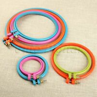 """Sewing Tool 3""""-10"""" Round Cross Stitch Machine Embroidery Frame Hoop Ring Plastic"""
