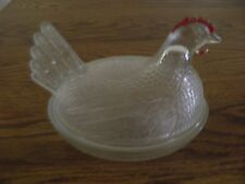 Early Indiana Clear Glass Chicken on Nest with Red Comb