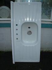Antique Porcelain Over Metal Farmhouse Sink Double Drain Board