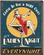 Ladies Night Martini Girl TIN SIGN funny metal poster vtg bar ad wall decor 1298