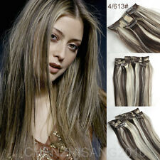 22inch 7Pcs/Set Clips In on Remy Real 100% Human Hair Extension 80g Thin