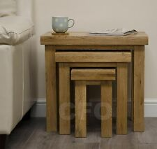 Claridge solid oak furniture nest of three coffee tables