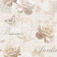 Luxary Muriva JARDIN BOTANIQUE script wallpaper127504 rose papillon crème / or