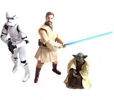 STAR WARS Clone Wars Set of 3 YODA,  OBI WAN & CLONE TROOPER toy figures set lot