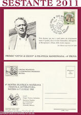 ITALIA MAXIMUM MAXI CARD 1985 PREMIO CITTà LECCO FILATELIA MANZONIANA NITTI 588