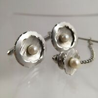 Sterling Silver Pearl Cufflinks & Tie Tack 3 D Textured Round Etched Vintage F1