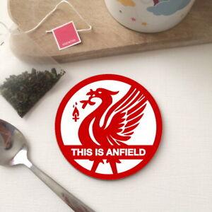 Retro LIVERPOOL LFC inspired ANFIELD Wood Circle Tea Coffee Office Coaster Gift