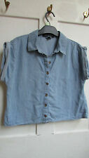 No Pattern Collared Cotton Blend Tops & Shirts Size Petite for Women