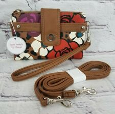 NWT Relic Brown Floral Vegan Leather Wristlet Wallet With Long Strap