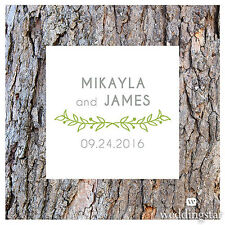 Woodland Pretty Personalized Square Acrylic Wedding Cake Topper