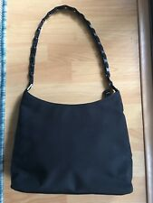 SALVATORE FERRAGAMO Black Nylon Canvas Hobo Shoulder Bag Lucite Strap 2ac4c0e2a78f2