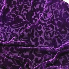 "Hand Dyed Burnout Silk VELVET Fabric ROYAL PURPLE SCROLL 9""x22"" remnant"