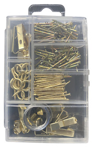 Picture Hanging Kit Brass Nail Wire Set Wall ArtPhoto Frame Hooks Mirror