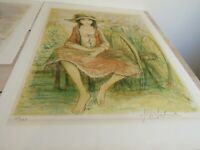 Jacques Lalande Original Lithograph Signed Adolescente Assise 1980