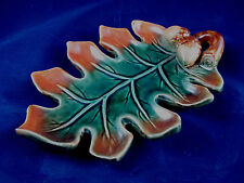 "EUC 9""x6"" Autumn Oak Leaf & Acorn candy nut serving trinket dish Pottery Plate"