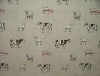 Prestigious Textiles Pasto Lino Cortina de Algodón Tapicería Vaca Oveja Pig Tela