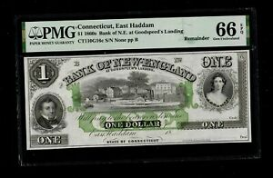 1860s Connecticut East Haddam Bank of New England $1 Gem Unc PMG 66 EPQ