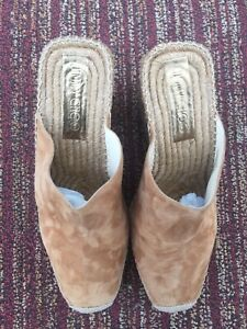 Jimmy Choo Womens Espadrille Wedge Slip On Suede Open Back Cover Toes Shoes Sz41