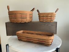 Longaberger Baskets 3 Piece Green Red Navy Weave Basket Set With Leather Handles
