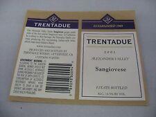 Wine Label: TRENTADUE 2001 Sangiovese Alexander Valley California