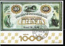 BRASIL BRAZIL 1976 BANKNOTE S/S USED FIRST DAY YV BL 37 Mi 38