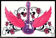 LOWER BACK SHOULDER TEMPORARY TATTOO~PINK WINGS PURPLE GUITAR FOR GIRLS WOMEN