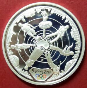 """>>2000  XXVII  OLYMPIC SILVER """"PROOF"""" COMMEMORATIVE COIN, AU$5  Silver 1 Oz Coin"""