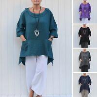 Women's Ladies Lagenlook Linen Tunic Plus Size 16 18 20 22 24 26 28 30/32  9447L