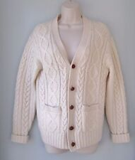 Fisherman Aran Cable Knit 100% Wool Cardigan Sweater Ivory Leather Buttons Small
