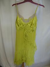 Ladies Dress Karen Millen UK 6, slip style yellow green, 100% silk, frills 0037