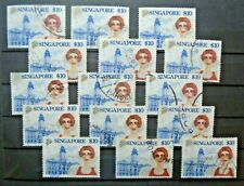 Lot $10 15 Stamps Vf Used Singapore B104.24 Start 0.99$