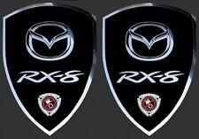2 adhésifs stickers noir et chrome MAZDA RX-8 (idéal pour ailes avant) RX8