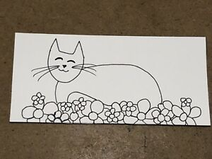 Original Art Card - Cat In Flower Bed - Ink On Paper