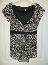 Biyaycda Size XL Leopard Print Lined Mesh Blouse Top