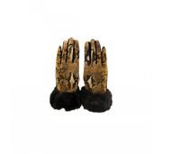 Guanti Donna animalier con pelo sintetico colore cammello/nero