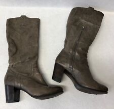 Frye Women's Size 6.5m Carson Mid Heel Tab Leather Pull On Boots Gray Reg $398