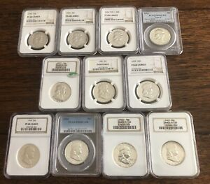 Franklin Half 1954-1963  PF68 Cameo 11 NGC Certified Set includng 1956 Type 1