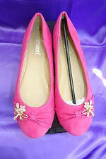 New! Pretty Ladies Butterfly Bead Bow Leather Fuchsia Pink Ballerina Shoes UK 6